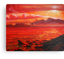 Oil Painting - Golden Gate Bridge and Alcatraz Island from Emeryville, 2009 Canvas Print
