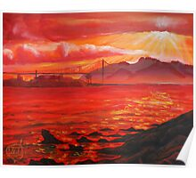 Oil Painting - Golden Gate Bridge and Alcatraz Island from Emeryville, 2009 Poster