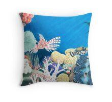 Underwater Rainbow - Coral Reef Throw Pillow