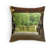 Through the barn Throw Pillow