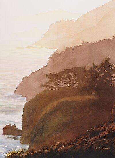 """""""Sunset Big Sur"""" Watercolor by Paul Jackson"""