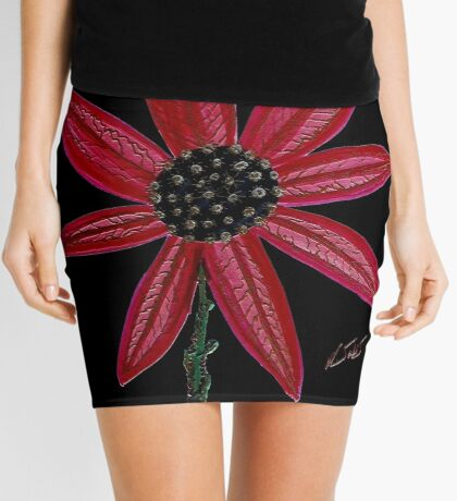 Red Flower by William Solis Mini Skirt