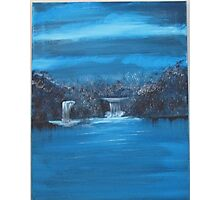 twin falls in blue series Photographic Print