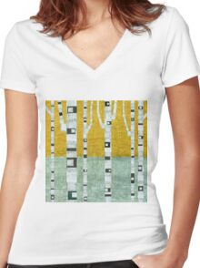 Early Winter Birches Women's Fitted V-Neck T-Shirt
