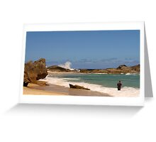 Lowlands - a fabulous Southern Ocean beach with a hopeful fisherman Greeting Card
