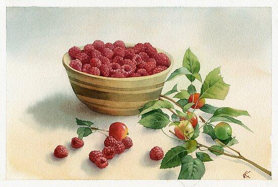 Stillife with raspberries by Sergei Kurbatov