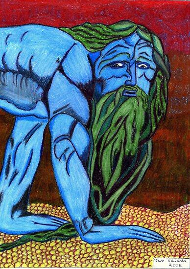 205 - VARIATION ON WILLIAM BLAKE'S NEBUCHADNEZZAR - DAVE EDWARDS - COLOURED PENCILS - 2008 by BLYTHART