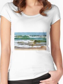 Waves Crash Women's Fitted Scoop T-Shirt