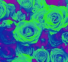 Technicolor Grunge Roses by hellosailortees