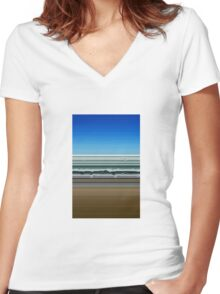 Sky Water Sand Women's Fitted V-Neck T-Shirt