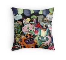 Yeti and Monsters having a party! Throw Pillow