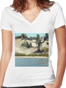 Lake Michigan Dune Women's Fitted V-Neck T-Shirt
