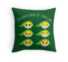 The Many Faces Of Toon Link Throw Pillow