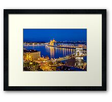 Budapest, Hungarian Parliament and Danube at blue hour Framed Print