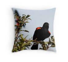 Red-Winged Blackbird Flashing the Goods Throw Pillow