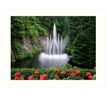 Flowers and the Fountain Art Print