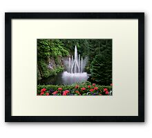 Flowers and the Fountain Framed Print