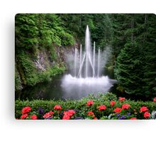 Flowers and the Fountain Canvas Print