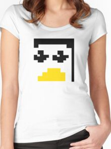 LINUX TUX PENGUIN PIXEL FACE  Women's Fitted Scoop T-Shirt