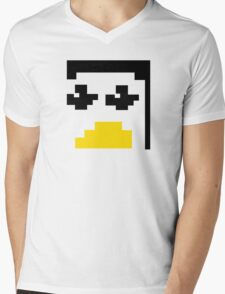 LINUX TUX PENGUIN PIXEL FACE  Mens V-Neck T-Shirt