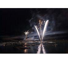 Fireworks at Glacier Lagoon #1 Photographic Print