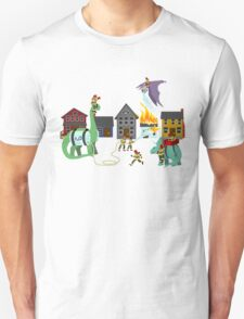Firefighters and Dinosaurs, Together at Last Unisex T-Shirt