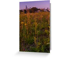 Chicago, neighborhood, prairie and skyline Greeting Card