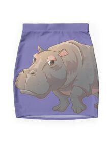 Cute cartoon hippo Mini Skirt