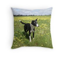 Ellie in a field of Sunshine Throw Pillow