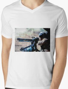 The Gunner - Digital Art / Helicopter Gunner - War / Military Mens V-Neck T-Shirt