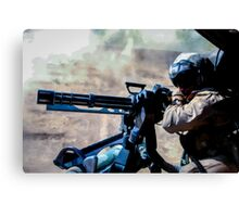 The Gunner - Digital Art / Helicopter Gunner - War / Military Canvas Print