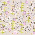Butterfly and tulips by RosiLorz