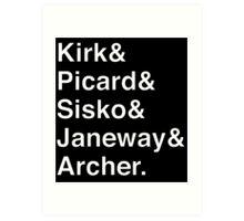 Star Trek Captains Helvetica Name List Art Print