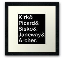 Star Trek Captains Helvetica Name List Framed Print