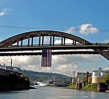 Willamette Falls Through the Oregon City Bridge by Chuck Gardner