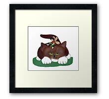 Fairy and Kitty in the Garden Framed Print