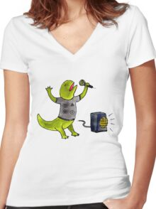 Karaoke Newt Women's Fitted V-Neck T-Shirt