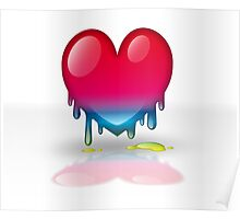 multicolored heart dripping Poster