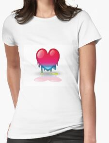 multicolored heart dripping Womens Fitted T-Shirt