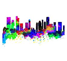 Singapore Skyline in Water Colour Photographic Print