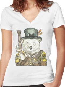 Polar Bear Warden Women's Fitted V-Neck T-Shirt