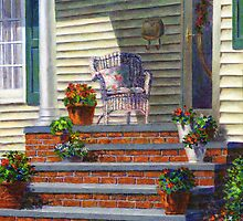 Porch with Pots of Geraniums by Susan Savad