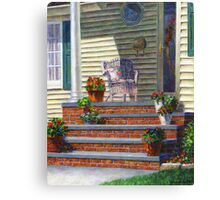 Porch with Pots of Geraniums Canvas Print