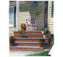 Porch with Pots of Geraniums Poster