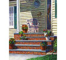 Porch with Pots of Geraniums Photographic Print