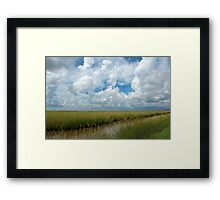 Cloudy Skies over the  Marsh Framed Print