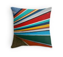 Colorful traditional fisherman boats Throw Pillow