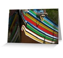 Colorful traditional fisherman boats Greeting Card