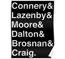 JAMES BOND Helvetica Names List Poster