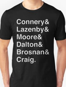 JAMES BOND Helvetica Names List T-Shirt